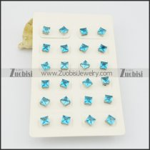 light blue square zircon post earring e000886
