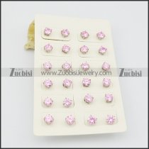 pink earrings with shiny zircon e000881