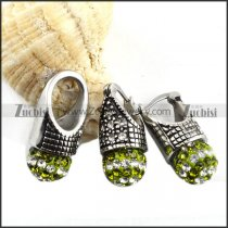 Stainless Steel jewelry set with Clear Green Crystal Ball -s000079