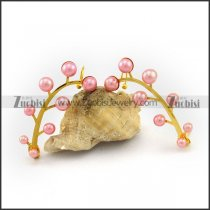Gold Plating  Earring with Pink Pearls e001148