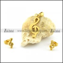 Jewelry Sets of Music Note Pendant and Earring -s000462