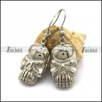 Shiny Stainless Steel Skull Dangle Earrings e001056