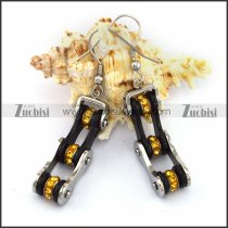 Silver Outside and Black Inside Bike Chain Earring Hook with Yellow Rhinestones e001132
