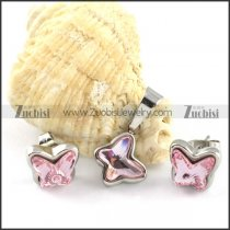 Clear Pink Crystal Butterfly Stainless Steel Jewelry Set -s000111