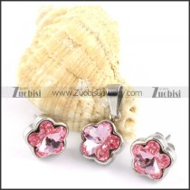 Clear Pink Plum Blossom Stainless Steel jewelry set-s000114