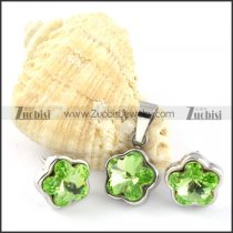 Clear Green Crystal Flower Stainless Steel Jewelry Set -s000107