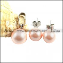 Pink Stainless Steel Pearl jewelry set-s000072