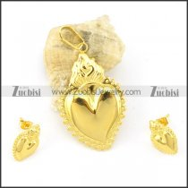 gold stainless steel heart-shaped jewelry set s000839