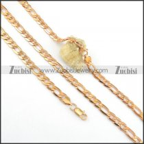 8mm rose gold necklace and bracelet set s000821