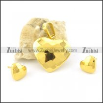 shiny gold plated heart matching jewelry s000843
