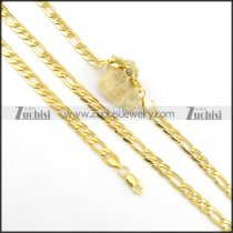 8mm wide shiny gold finishing chain necklace set s000820