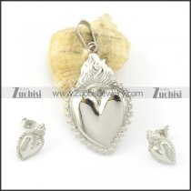316L stainless steel heart-shaped pendant and earring s000838