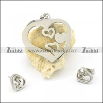 stainless steel heart earring and pendant for girls s000844