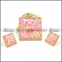 Pink Square Pendant and Earring Set s001038
