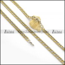8MM Wide Gold and Steel Chain Necklace Set s001025