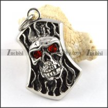Stainless Steel Skull Pendant with Ruby Eyes - p000181