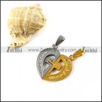 Yellow Gold and Silver Plating Stainless Steel Couple Heart Pendants - p000030