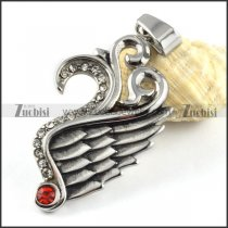 Stainless Steel Wing Pendant with Ruby Rhinestone - p000157