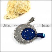 Blue and Silver Finishing Stainless Steel Watch Pendants - p000020