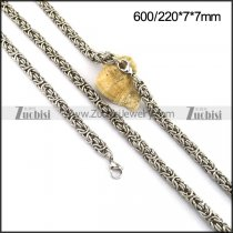 7mm Double Rings Chain Jewelry Sets in Steel s001356