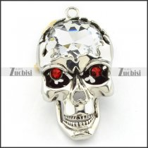 good-looking 316L big Clear Stone Skull Pendant with red rhinestone eyes for men & bikers - p000472