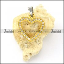nice-looking yellow gold oxidation-resisting steel heart Pendants - p000490