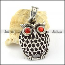 Fat Stainless Steel Red Eye Owl Pendant -p000639