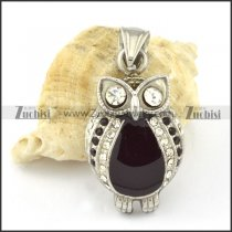 Stainless Steel Owl Pendant with Clear Rhinestone  -p000652