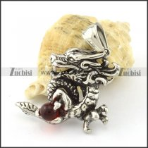 Stainless Steel China Dragon Pendant grapped red ball -p000811