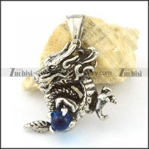 Stainless Steel Dragon Pendant with light blue ball -p000810