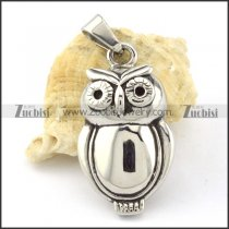 Shiny Stainless Steel Owl Pendant -p000656