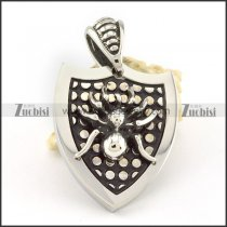 Stainless Steel shield Pendant with Spider -p000707