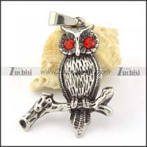 Stainless Steel Owl Pendant with Red Eye -p000649