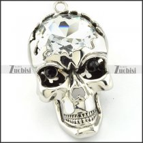 enjoyable nonrust steel clear big stone Skull Pendants with black Rhinestone eyes for men & bikers - p000471