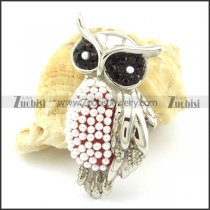 Black Rhinestones Eyes Owl Pendant with Beads -p001164