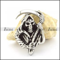 the King of Terrors pendant for biker in stainless steel metal p001493