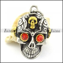 2 tones casting skull pendant with red rhinestone eyes p001364