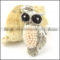 Nice-looking 316L Steel Owl Pendant with Small Pearl p001160