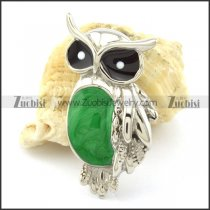 Owl Pendants with Green Epoxy -p001166
