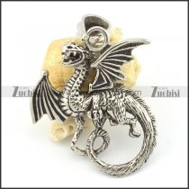 stainless steel fire-breathing dragon pendant p001573