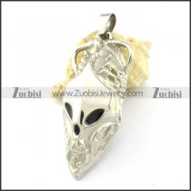 Bloodcurdling Skull Pendant in Stainless Steel With Black Eyes and Nose -p001073