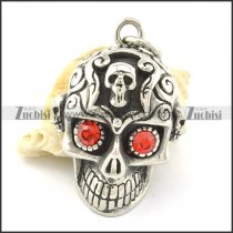 casting skull pendant with little skull on head & 2 red eyes p001363
