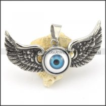 blue flying eyeball pendant with 2 wings p001581
