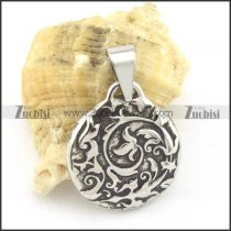 beautiful flower totem pendant in stainless steel p001534
