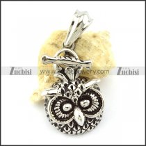 Steel Owl Charm with Melon Seed Buckle -p001125