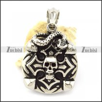 Stainless Steel Snake and Skull Tag Pendant -p001119