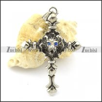 blue eye casting wolf theme cross pendant p001359