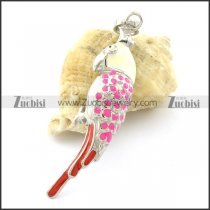 Pink Stainless Steel Parrot Pendants -p001167