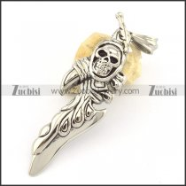 stainless steel skull charm with big hole buckle p001551