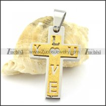 yellow gold plating LOVE cross pendant p001374
